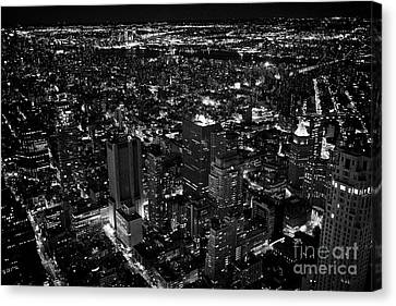 aerial view of soho east village and lower downtown manhattan New York City USA Canvas Print