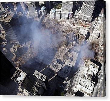 Aerial View Of The Destruction Where Canvas Print by Stocktrek Images