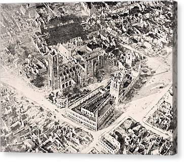 Aerial View Of Ypres In 1915 After Canvas Print by Vintage Design Pics