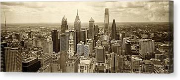 Aerial View Philadelphia Skyline Wth City Hall Canvas Print by Jack Paolini