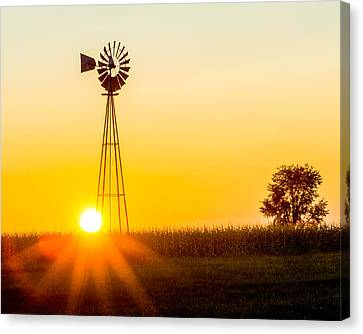 Canvas Print featuring the photograph Aermotor Sunset by Chris Bordeleau