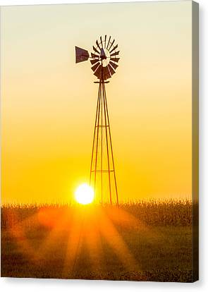 Canvas Print featuring the photograph Aermotor Sunset Vertical by Chris Bordeleau