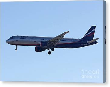 Canvas Print featuring the photograph Aeroflot - Russian Airlines Airbus A321-211 - Vq-bhk by Amos Dor