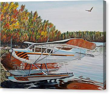 Canvas Print featuring the painting Aeronca Super Chief 0290 by Marilyn  McNish