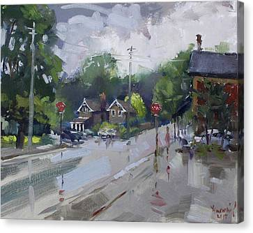 Rainy Day Canvas Print - Afetr Rain At Glen Williams On by Ylli Haruni