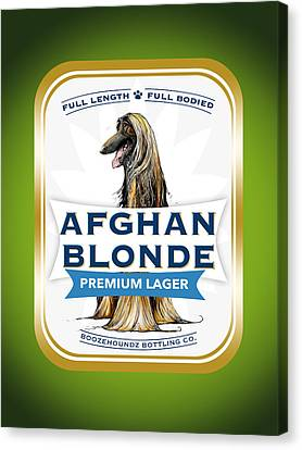 Caricature Canvas Print - Afghan Blonde Premium Lager by John LaFree