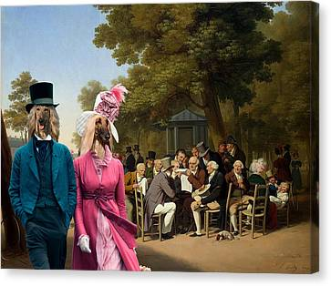 Afghan Hound-politicians In The Tuileries Gardens  Canvas Fine Art Print Canvas Print by Sandra Sij