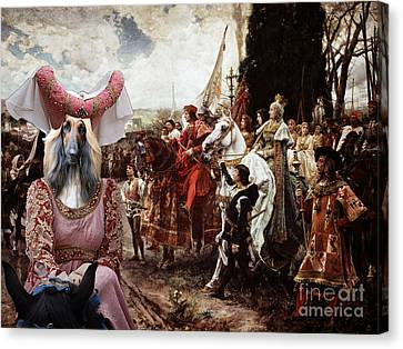 Afghan Hound-the Reverance To The Queen Canvas Fine Art Print Canvas Print
