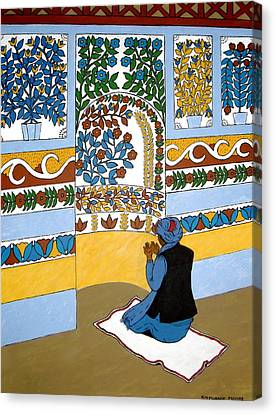 Canvas Print featuring the painting Afghan Mosque by Stephanie Moore