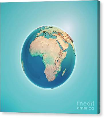 World Map Canvas Print - Africa 3d Render Planet Earth by Frank Ramspott