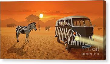 Africa Safari And Stripes Meeting Canvas Print
