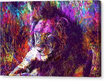 Canvas Print featuring the digital art Africa Safari Tanzania Bush Mammal  by PixBreak Art