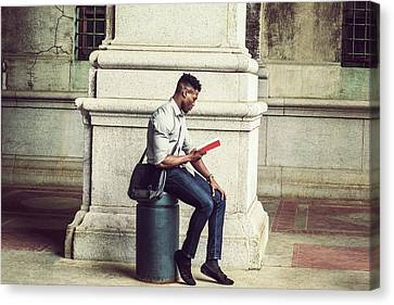 African American College Student Studying In New York Canvas Print