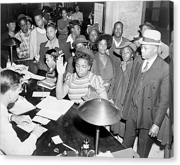 African Americans Lined Up To Register Canvas Print by Everett