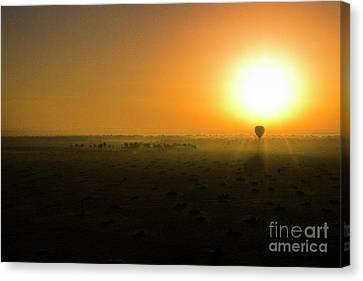 Canvas Print featuring the photograph African Balloon Sunrise by Karen Lewis