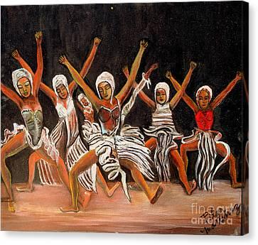 African Dancers Canvas Print by Pilar  Martinez-Byrne
