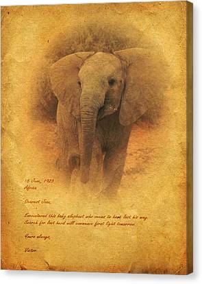 Canvas Print featuring the mixed media African Elephant by John Wills