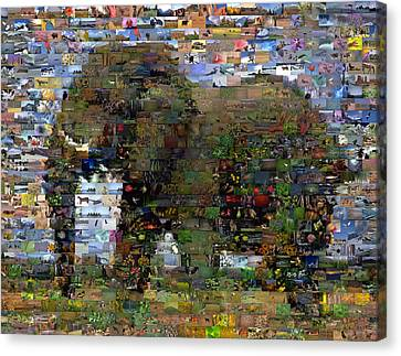 Canvas Print featuring the mixed media African Elephant Wild Animal Mosaic by Paul Van Scott