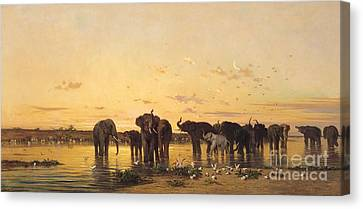 Setting Canvas Print - African Elephants by Charles Emile de Tournemine