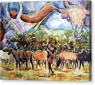 African Herdsmen Canvas Print by Bankole Abe