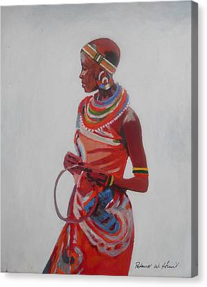 African Lady In Red Canvas Print by Patrick Hunt