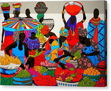 African Marketplace 5 Canvas Print