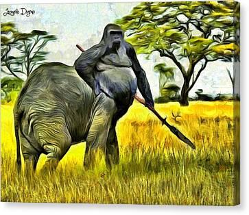 African Minotaur - Da Canvas Print by Leonardo Digenio