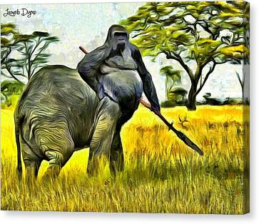 African Elephant Canvas Print - African Minotaur by Leonardo Digenio