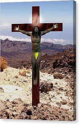 Crucifix Art Canvas Print - African Man Crucified by Quim Abella