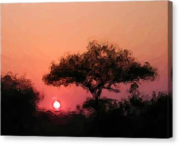 African Sunset Canvas Print by David Lane