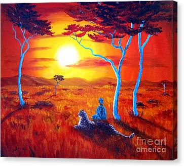 African Sunset Meditation Canvas Print by Laura Iverson
