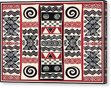 African Tribal Ritual Design Canvas Print by Vagabond Folk Art - Virginia Vivier