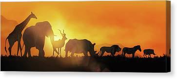 Sunflare Canvas Print - African Wildlife Sunset Silhouette Banner by Susan Schmitz