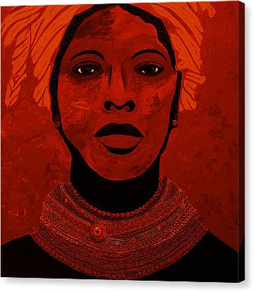African Woman With Beads 3 Canvas Print by Irene Jonker