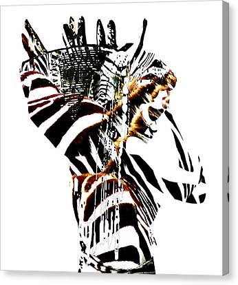African Woman With Zebraprint Canvas Print