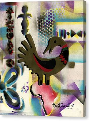Afro - Aesthetic - K  - Sankofa Bird  And Adinkra Symbol For Abundance Canvas Print by Everett Spruill