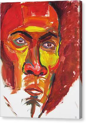 Canvas Print featuring the painting Afro by Shungaboy X