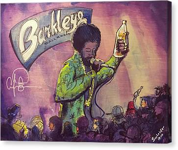 Canvas Print featuring the painting Afroman At Barkleys by David Sockrider