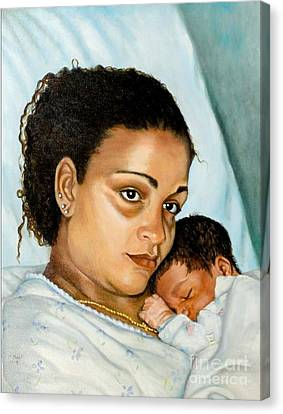Canvas Print featuring the painting After Birth Jacina And Javon by Marlene Book
