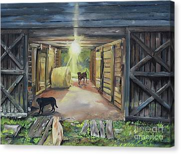 Dog At Door Canvas Print - After Hours In Pa's Barn - Barn Lights - Labs by Jan Dappen