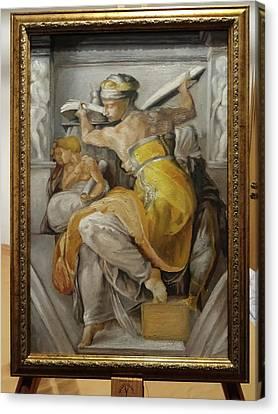 After Michelangelo, Sibyla Libica From The Sistine Chapel Canvas Print by Razvan Petrea