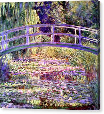 Foliage Canvas Print - After Monet Water Lily Pond by Georgiana Romanovna