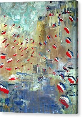After Monet's Rue Montorgueil Canvas Print by Michela Akers