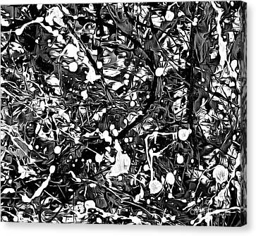 After Pollock Black And White Canvas Print by Edward Fielding