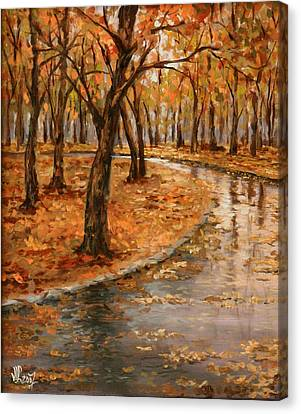 After Rain,walk In The Central Park Canvas Print