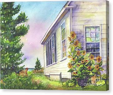 Canvas Print featuring the painting After School Activities At Monhegan School House by Susan Herbst