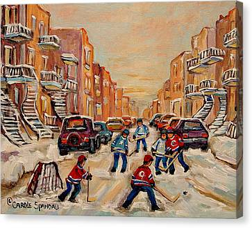 After School Hockey Game Canvas Print by Carole Spandau