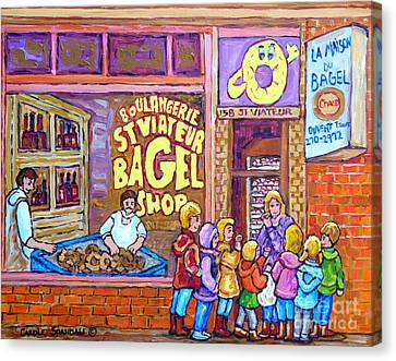 St.viateur Bagel Canvas Print - After School Kids Bagel Shoppers Boulangerie Store Front St Viateur Bagel Chef Montreal Memories     by Carole Spandau