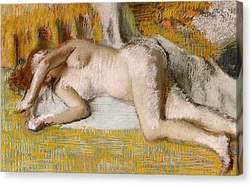 After The Bath, 1885 Canvas Print by Edgar Degas
