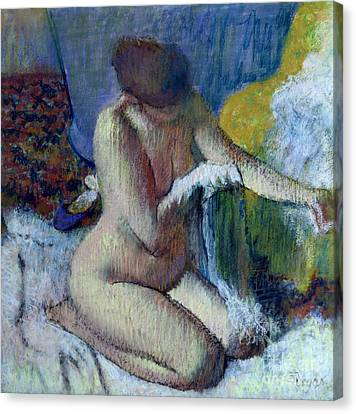 Woman Nude Canvas Print - After The Bath by Edgar Degas